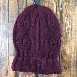 Free People Cable Knit OS Beanie Maroon Color